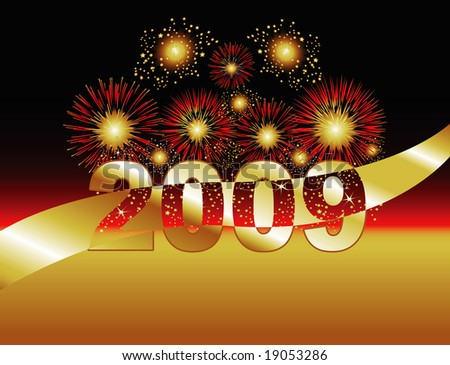 Fireworks in Gold & Red. 2009 featured on this flexible background. Foreground provides usable copy space. - stock photo
