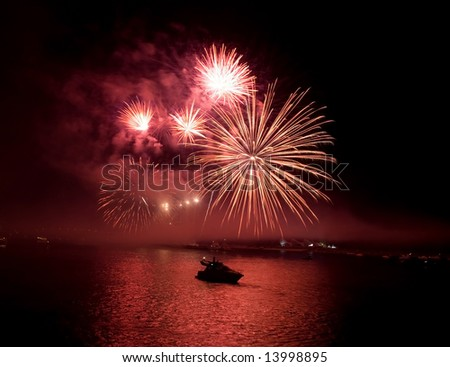 fireworks in kiev - stock photo