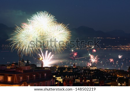 Fireworks in Lausanne, Switzerland on August 1st 2013, the Swiss National Day. - stock photo