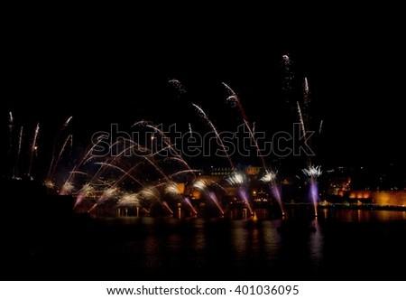 Fireworks in Malta, fireworks festival, Malta fireworks festival, festival in Malta - stock photo