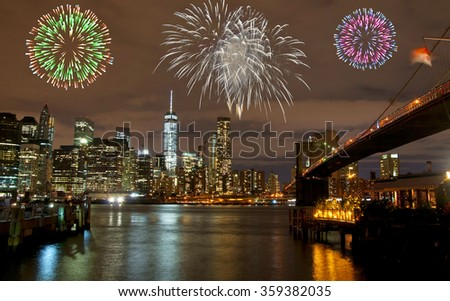 Fireworks in New York City, USA - stock photo