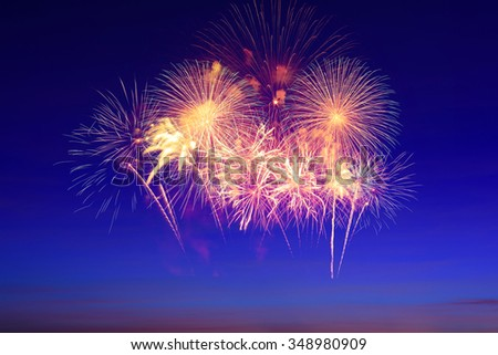 fireworks in sky twilight - stock photo