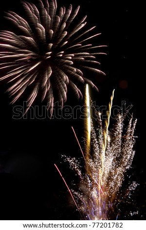 fireworks in the night - stock photo