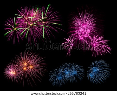 Fireworks in the night at Bangkok, Thailand - stock photo