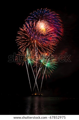 Fireworks in the sea at Pattaya beach, Thailand - stock photo