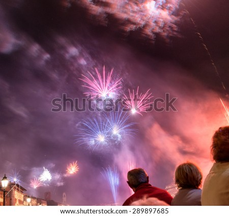 Fireworks in the sky at night. - stock photo