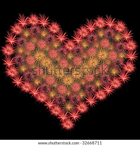 Fireworks Isolated and Arranged in a Heart Shape - stock photo