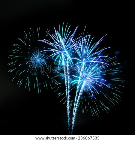 Fireworks isolated on black background - stock photo