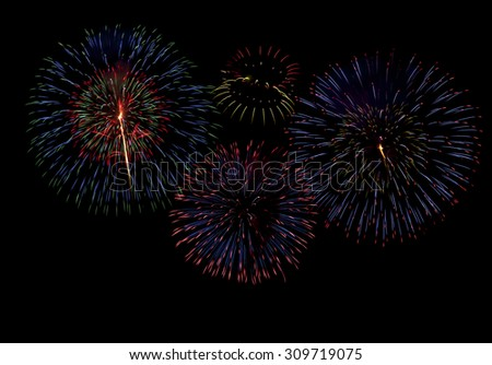 fireworks isolated on black background,firework display for celebration,Colorful fireworks - stock photo
