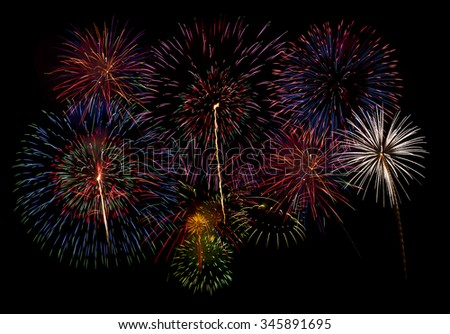 fireworks isolated on black background,firework display for celebration,Colorful fireworks