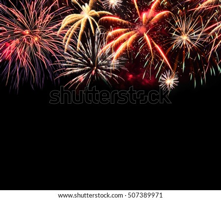 Fireworks isolated on black. Colorful lights as Christmas background. Space for a text