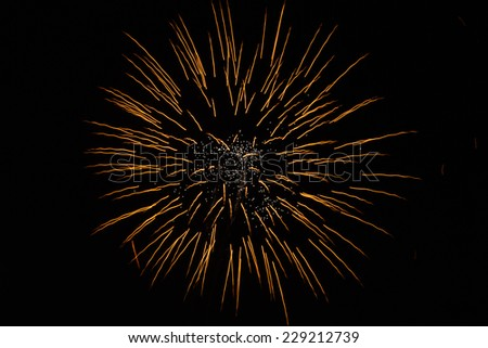 fireworks Loy Krathong festival in Thailand - stock photo