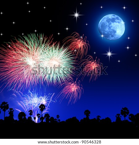 Fireworks moon star - stock photo