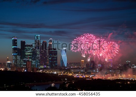 Fireworks near Moscow International Business Center - Moscow-City, Russia