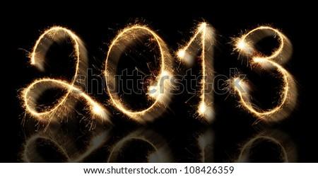 Fireworks New Year 2013 - stock photo