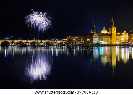 Fireworks New year atmosphere in Prague, Czech Republic - stock photo