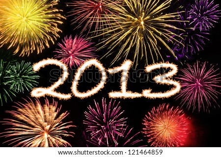 Fireworks new year background of 2013 with colorful image - stock photo