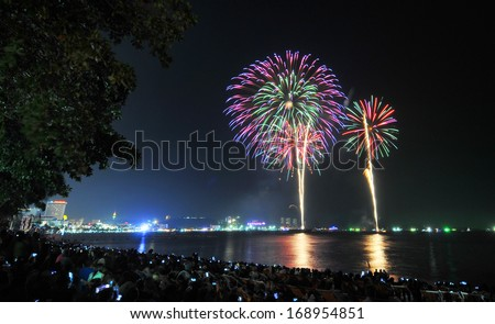 Fireworks new year celebration at Pattaya beach, Thailand  - stock photo