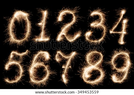 Fireworks numbers, set - stock photo