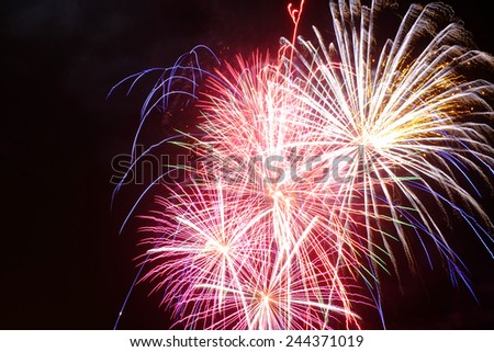 Fireworks on a black background - stock photo