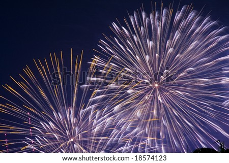 Fireworks on China National Day 2008 in Hong Kong - stock photo