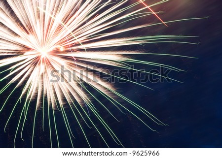 Fireworks on Independence Day. Dark blue sky. 3 - stock photo