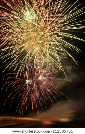 Fireworks on New Years Eve - stock photo