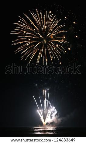 fireworks on the black sky - stock photo