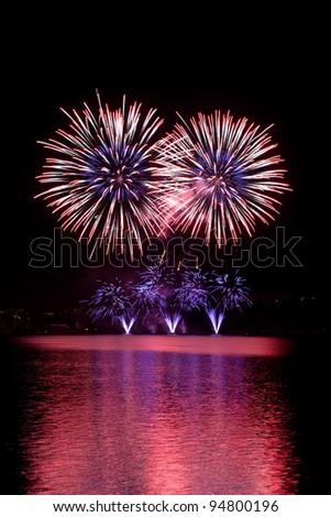 Fireworks on the night sky. - stock photo