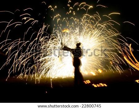 Fireworks on the street - stock photo