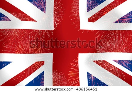 Fireworks on the United Kingdom flag copy space in the middle.Concept Celebrations, happy start for the entertainment suitable for a background.