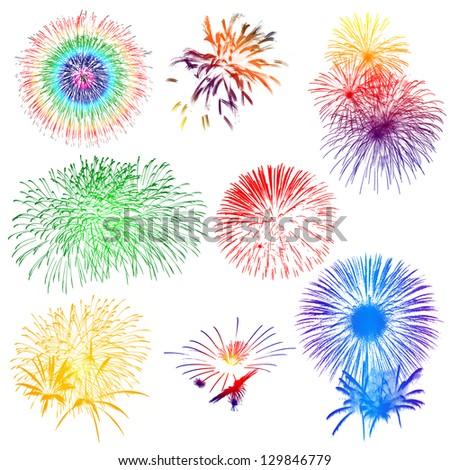 Fireworks on white background - stock photo