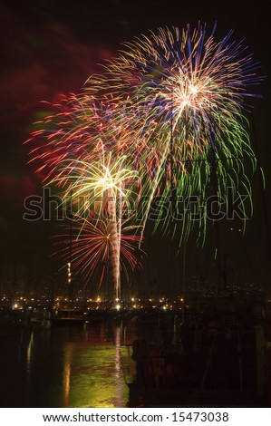 Fireworks over a California Harbor