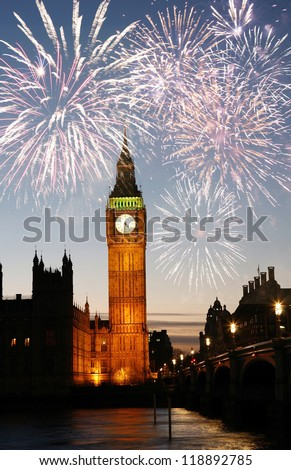 Fireworks over Big Ben seen from Parliament Square, at Night - stock photo