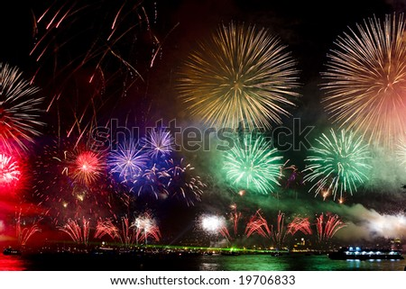 Fireworks over Bosphorus in Istanbul during October 29th celebrations - stock photo