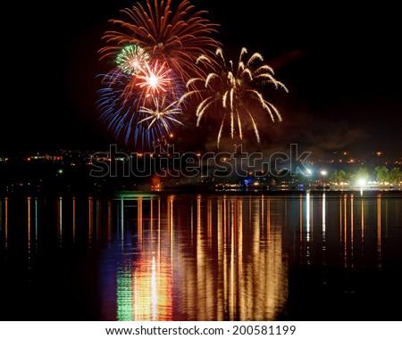 Fireworks over Gatineau Quebec for St. Jean Baptiste celebration - stock photo