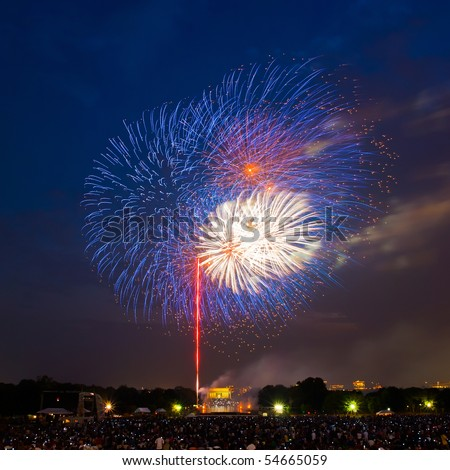 Fireworks over Lincoln Memorial, 4th of July, Washington, DC - stock photo