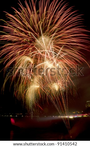 Fireworks over Niagara Falls, Ontario, Canada. Part of the 2011/2012 Winter Festival of Lights celebration. - stock photo