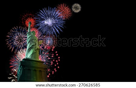 Fireworks over Statue of Liberty. Independence Day concept - stock photo