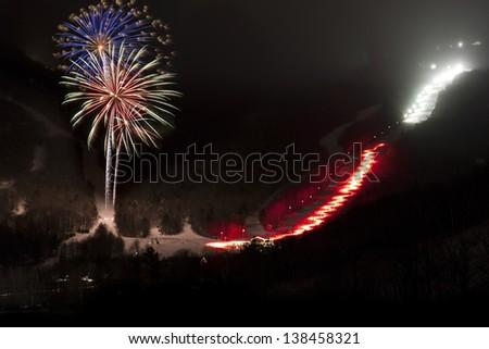 Fireworks over Stowe Mountain Resort, Stowe, Vermont, USA - stock photo
