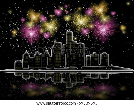 Fireworks over the city at night - stock photo