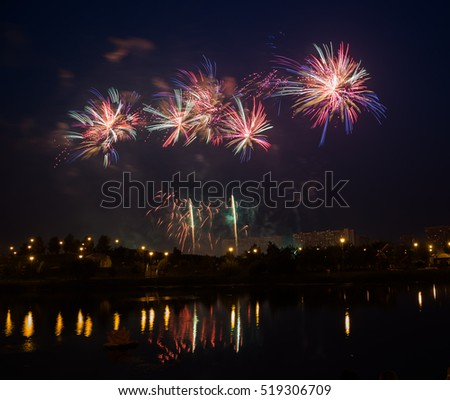 Fireworks over the river.