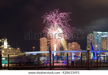 Fireworks over the skyline from Miami as seen from Watson Island