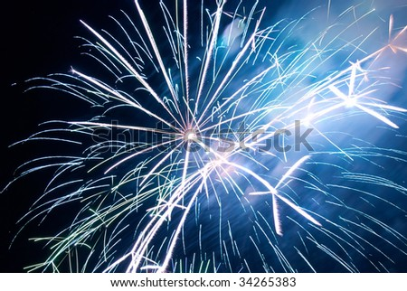 Fireworks, salute with black sky background