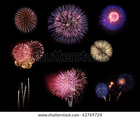Fireworks selection on black background in different colors - stock photo