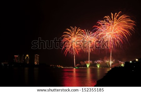 Fireworks show during National Day celebration in Putrajaya, Malaysia