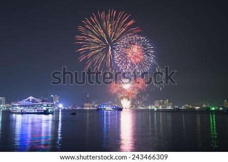 Fireworks show in Patta-ya, Thailand.  - stock photo