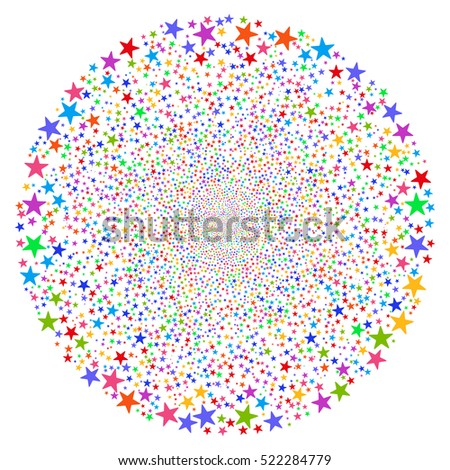 Fireworks Star Sphere raster image. This New Year Pyrotechnic illustration is drawn with multi-colored flat bright stars.