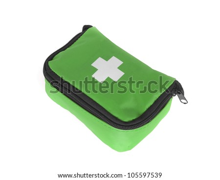 First aid bag isolated on white - stock photo