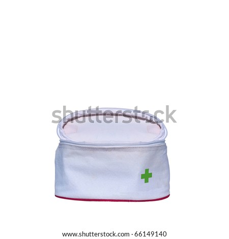 First aid bag isolated over white background - stock photo